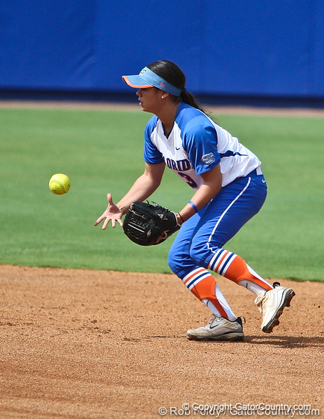 Florida senior second baseman Aja Paculba tosses the ball to second base during the Gator's 9-1 victory against the Oregon Ducks in the first day of the NCAA Super Regionals  on Friday, May 27, 2011 at Katie Seashole Pressly Stadium in Gainesville, Fla. / photo by Rob Foldy