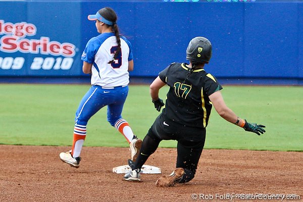 Florida senior second baseman Aja Paculba records an out during the Gator's 9-1 victory against the Oregon Ducks in the first day of the NCAA Super Regionals  on Friday, May 27, 2011 at Katie Seashole Pressly Stadium in Gainesville, Fla. / photo by Rob Foldy