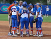 Florida head coach Tim Walton meets with the infield players during the Gator's 9-1 victory against the Oregon Ducks in the first day of the NCAA Super Regionals  on Friday, May 27, 2011 at Katie Seashole Pressly Stadium in Gainesville, Fla. / photo by Rob Foldy