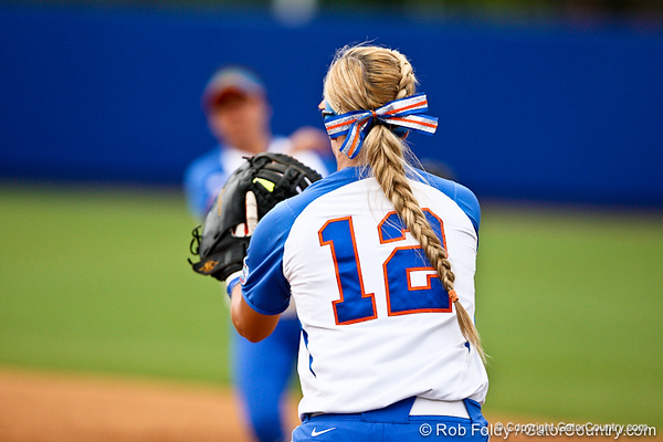 Florida senior first baseman Megan Bush records an out during the Gator's 9-1 victory against the Oregon Ducks in the first day of the NCAA Super Regionals  on Friday, May 27, 2011 at Katie Seashole Pressly Stadium in Gainesville, Fla. / photo by Rob Foldy