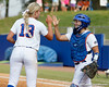 Florida freshman pitcher Hannah Rogers celebrates with senior catcher Tiffany DeFelice after a strikeout during the Gators' 11-3 win against the UCLA Bruins in the NCAA Regional final on Sunday, May 22, 2011 at Katie Seashole Pressly Softball Stadium in Gainesville, Fla. / Gator Country photo by Tim Casey