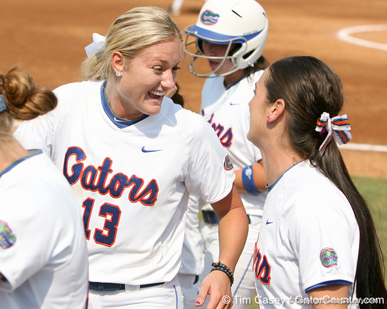 Florida freshman pitcher Hannah Rogers talks with sophomore Ensley Gammel during the Gators' 11-3 win against the UCLA Bruins in the NCAA Regional final on Sunday, May 22, 2011 at Katie Seashole Pressly Softball Stadium in Gainesville, Fla. / Gator Country photo by Tim Casey