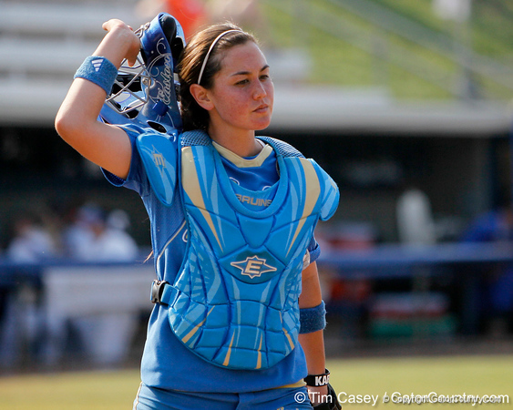 UCLA catcher Grace Murray returns to the dugout during the Gators' 11-3 win against the Bruins in the NCAA Regional final on Sunday, May 22, 2011 at Katie Seashole Pressly Softball Stadium in Gainesville, Fla. / Gator Country photo by Tim Casey