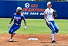 Florida junior center fielder Michelle Moultrie steals second base during the Gator's 2-3 loss to the UCLA Bruins on Sunday, May 22, 2011 at Katie Seashole Pressly Stadium in Gainesville, Fla. / photo by Rob Foldy