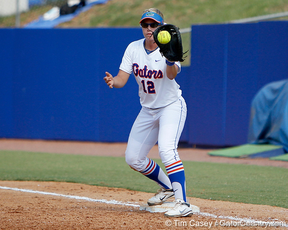 Florida senior first baseman Megan Bush records an out during the Gators' 11-3 win against the UCLA Bruins in the NCAA Regional final on Sunday, May 22, 2011 at Katie Seashole Pressly Softball Stadium in Gainesville, Fla. / Gator Country photo by Tim Casey