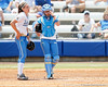 UCLA pitcher Donna Kerr talks with catcher Grace Murray during the Gators' 3-2 loss to the UCLA Bruins in the NCAA Regionals on Sunday, May 22, 2011 at Katie Seashole Pressly Softball Stadium in Gainesville, Fla. / Gator Country photo by Tim Casey