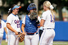 Florida freshman shortstop Cheyenne Coyle, senior catcher Tiffany DeFelice and freshman pitcher Hannah Rogers talk before the Gators' 11-3 win against the UCLA Bruins in the NCAA Regional final on Sunday, May 22, 2011 at Katie Seashole Pressly Softball Stadium in Gainesville, Fla. / Gator Country photo by Tim Casey