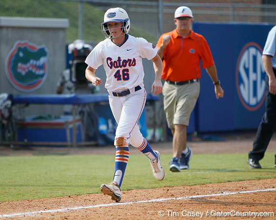 Florida junior Ellie Langley scores on a home run during the Gators' 11-3 win against the UCLA Bruins in the NCAA Regional final on Sunday, May 22, 2011 at Katie Seashole Pressly Softball Stadium in Gainesville, Fla. / Gator Country photo by Tim Casey