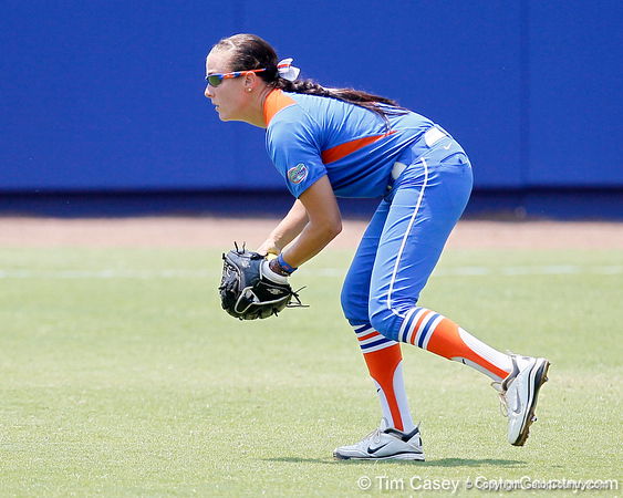Florida senior Kelsey Bruder fields a hit during the Gators' 3-2 loss to the UCLA Bruins in the NCAA Regionals on Sunday, May 22, 2011 at Katie Seashole Pressly Softball Stadium in Gainesville, Fla. / Gator Country photo by Tim Casey