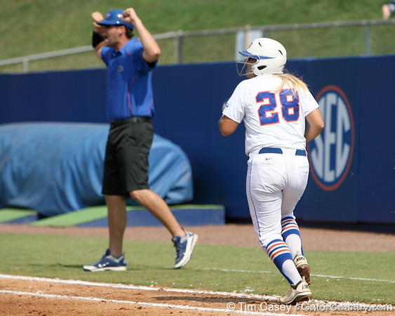 Florida senior catcher Tiffany DeFelice runs out a homer during the Gators' 11-3 win against the UCLA Bruins in the NCAA Regional final on Sunday, May 22, 2011 at Katie Seashole Pressly Softball Stadium in Gainesville, Fla. / Gator Country photo by Tim Casey