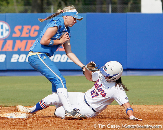 Florida freshman shortstop Cheyenne Coyle steals second base during the Gators' 11-3 win against the UCLA Bruins in the NCAA Regional final on Sunday, May 22, 2011 at Katie Seashole Pressly Softball Stadium in Gainesville, Fla. / Gator Country photo by Tim Casey