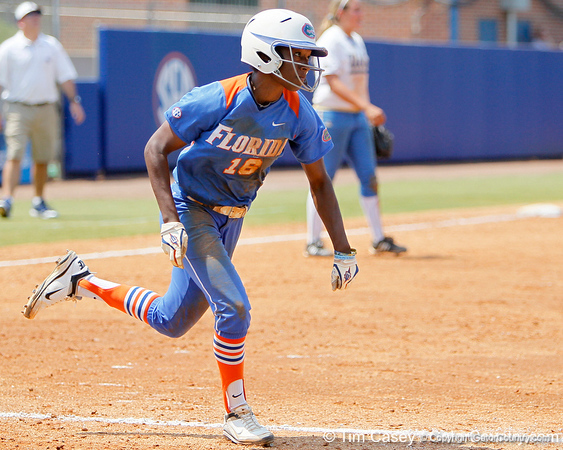 Florida junior center fielder Michelle Moultrie runs to first base during the Gators' 3-2 loss to the UCLA Bruins in the NCAA Regionals on Sunday, May 22, 2011 at Katie Seashole Pressly Softball Stadium in Gainesville, Fla. / Gator Country photo by Tim Casey