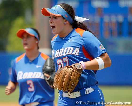 Florida freshman shortstop Cheyenne Coyle reacts after the end of an inning during the Gators' 3-2 loss to the UCLA Bruins in the NCAA Regionals on Sunday, May 22, 2011 at Katie Seashole Pressly Softball Stadium in Gainesville, Fla. / Gator Country photo by Tim Casey