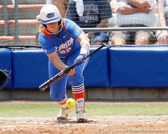 Florida senior catcher Tiffany DeFelice lays down a bunt during the Gators' 3-2 loss to the UCLA Bruins in the NCAA Regionals on Sunday, May 22, 2011 at Katie Seashole Pressly Softball Stadium in Gainesville, Fla. / Gator Country photo by Tim Casey