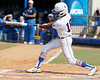 Florida junior center fielder Michelle Moultrie gets a hit during the Gators' 11-3 win against the UCLA Bruins in the NCAA Regional final on Sunday, May 22, 2011 at Katie Seashole Pressly Softball Stadium in Gainesville, Fla. / Gator Country photo by Tim Casey