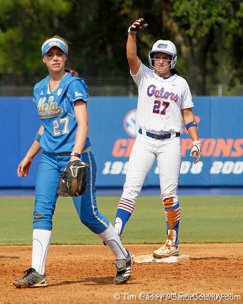 Florida freshman shortstop Cheyenne Coyle motions to the dugout after stealing second base during the Gators' 11-3 win against the UCLA Bruins in the NCAA Regional final on Sunday, May 22, 2011 at Katie Seashole Pressly Softball Stadium in Gainesville, Fla. / Gator Country photo by Tim Casey