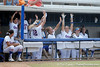 Florida players cheer in the dugout during the Gators' 11-3 win against the UCLA Bruins in the NCAA Regional final on Sunday, May 22, 2011 at Katie Seashole Pressly Softball Stadium in Gainesville, Fla. / Gator Country photo by Tim Casey