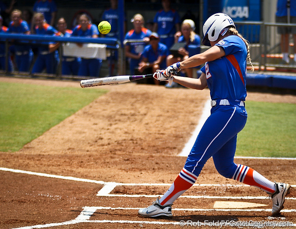 Florida senior first baseman Megan Bush connects with the ball during the Gator's 2-3 loss to the UCLA Bruins on Sunday, May 22, 2011 at Katie Seashole Pressly Stadium in Gainesville, Fla. / photo by Rob Foldy