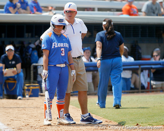 Florida senior second baseman Aja Paculba listens to head coach Tim Walton during the Gators' 3-2 loss to the UCLA Bruins in the NCAA Regionals on Sunday, May 22, 2011 at Katie Seashole Pressly Softball Stadium in Gainesville, Fla. / Gator Country photo by Tim Casey