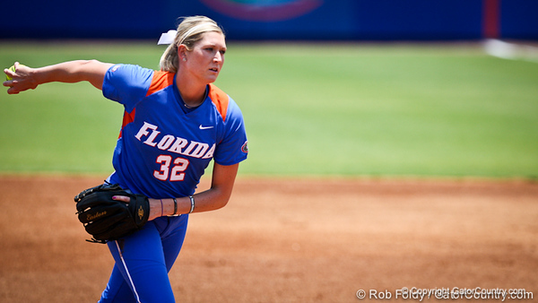 Florida senior pitcher Stephanie Brombacher prepares to deliver a pitch during the Gator's 2-3 loss to the UCLA Bruins on Sunday, May 22, 2011 at Katie Seashole Pressly Stadium in Gainesville, Fla. / photo by Rob Foldy