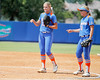 Florida freshman pitcher Hannah Rogers and senior first baseman Megan Bush talk during the Gators' 3-2 loss to the UCLA Bruins in the NCAA Regionals on Sunday, May 22, 2011 at Katie Seashole Pressly Softball Stadium in Gainesville, Fla. / Gator Country photo by Tim Casey