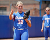 Florida senior pitcher Stephanie Brombacher reacts after hitting a batter during the Gators' 3-2 loss to the UCLA Bruins in the NCAA Regionals on Sunday, May 22, 2011 at Katie Seashole Pressly Softball Stadium in Gainesville, Fla. / Gator Country photo by Tim Casey