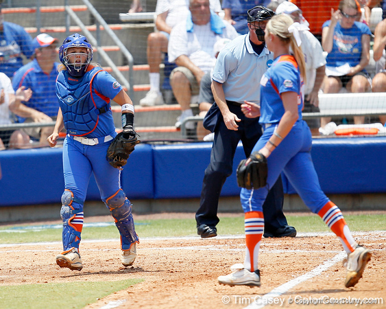 Florida senior catcher Tiffany DeFelice reacts after a strikeout by Stephanie Brombacher during the Gators' 3-2 loss to the UCLA Bruins in the NCAA Regionals on Sunday, May 22, 2011 at Katie Seashole Pressly Softball Stadium in Gainesville, Fla. / Gator Country photo by Tim Casey