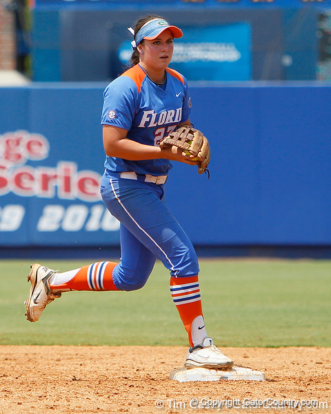 Florida freshman shortstop Cheyenne Coyle steps on second base to end an inning during the Gators' 3-2 loss to the UCLA Bruins in the NCAA Regionals on Sunday, May 22, 2011 at Katie Seashole Pressly Softball Stadium in Gainesville, Fla. / Gator Country photo by Tim Casey