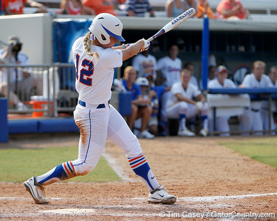 Florida senior first baseman Megan Bush follows through on a swing during the Gators' 11-3 win against the UCLA Bruins in the NCAA Regional final on Sunday, May 22, 2011 at Katie Seashole Pressly Softball Stadium in Gainesville, Fla. / Gator Country photo by Tim Casey