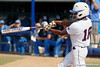 Florida junior center fielder Michelle Moultrie follows through on a swing during the Gators' 11-3 win against the UCLA Bruins in the NCAA Regional final on Sunday, May 22, 2011 at Katie Seashole Pressly Softball Stadium in Gainesville, Fla. / Gator Country photo by Tim Casey