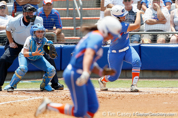 Florida freshman shortstop Cheyenne Coyle steals second base as Tiffany DeFelice bats during the Gators' 3-2 loss to the UCLA Bruins in the NCAA Regionals on Sunday, May 22, 2011 at Katie Seashole Pressly Softball Stadium in Gainesville, Fla. / Gator Country photo by Tim Casey