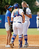Florida assistant coach Jennifer Rocha talks with freshman pitcher Hannah Rogers during the Gators' 11-3 win against the UCLA Bruins in the NCAA Regional final on Sunday, May 22, 2011 at Katie Seashole Pressly Softball Stadium in Gainesville, Fla. / Gator Country photo by Tim Casey
