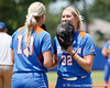 Florida freshman pitcher Hannah Rogers talks with senior pitcher Stephanie Brombacher during the Gators' 3-2 loss to the UCLA Bruins in the NCAA Regionals on Sunday, May 22, 2011 at Katie Seashole Pressly Softball Stadium in Gainesville, Fla. / Gator Country photo by Tim Casey