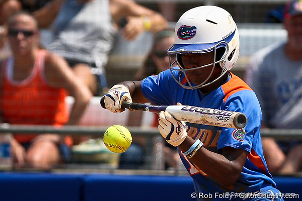 Florida junior center fielder Michelle Moultrie lays down a bunt during the Gator's 2-3 loss to the UCLA Bruins on Sunday, May 22, 2011 at Katie Seashole Pressly Stadium in Gainesville, Fla. / photo by Rob Foldy