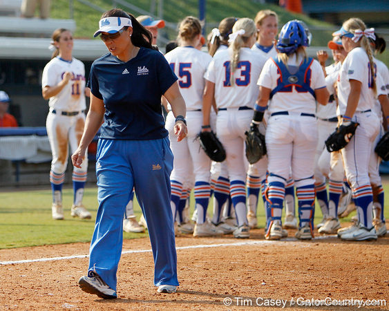 UCLA head coach Kelly Inouye-Perez walks off the field after the Gators' 11-3 win against the Bruins in the NCAA Regional final on Sunday, May 22, 2011 at Katie Seashole Pressly Softball Stadium in Gainesville, Fla. / Gator Country photo by Tim Casey