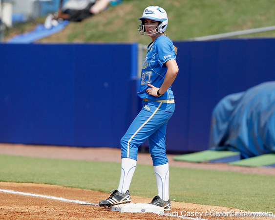 UCLA's Kellie Fox reacts after getting hit by a pitch during the Gators' 11-3 win against the UCLA Bruins in the NCAA Regional final on Sunday, May 22, 2011 at Katie Seashole Pressly Softball Stadium in Gainesville, Fla. / Gator Country photo by Tim Casey