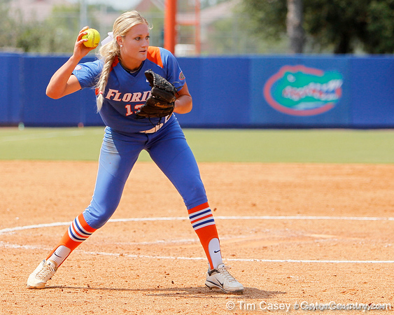Florida freshman pitcher Hannah Rogers throws to first base for an out during the Gators' 3-2 loss to the UCLA Bruins in the NCAA Regionals on Sunday, May 22, 2011 at Katie Seashole Pressly Softball Stadium in Gainesville, Fla. / Gator Country photo by Tim Casey