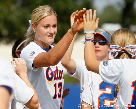 Florida freshman pitcher Hannah Rogers celebrates after ending an inning during the Gators' 11-3 win against the UCLA Bruins in the NCAA Regional final on Sunday, May 22, 2011 at Katie Seashole Pressly Softball Stadium in Gainesville, Fla. / Gator Country photo by Tim Casey