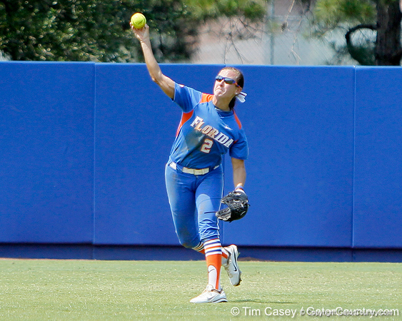 Florida senior Kelsey Bruder throws from left field during the Gators' 3-2 loss to the UCLA Bruins in the NCAA Regionals on Sunday, May 22, 2011 at Katie Seashole Pressly Softball Stadium in Gainesville, Fla. / Gator Country photo by Tim Casey