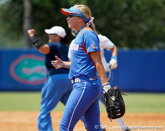 Florida senior first baseman Megan Bush walks across the field after the Gators' 3-2 loss to the UCLA Bruins in the NCAA Regionals on Sunday, May 22, 2011 at Katie Seashole Pressly Softball Stadium in Gainesville, Fla. / Gator Country photo by Tim Casey