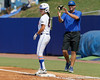 Florida senior Kelsey Bruder reaches first base on a walk during the Gators' 11-3 win against the UCLA Bruins in the NCAA Regional final on Sunday, May 22, 2011 at Katie Seashole Pressly Softball Stadium in Gainesville, Fla. / Gator Country photo by Tim Casey