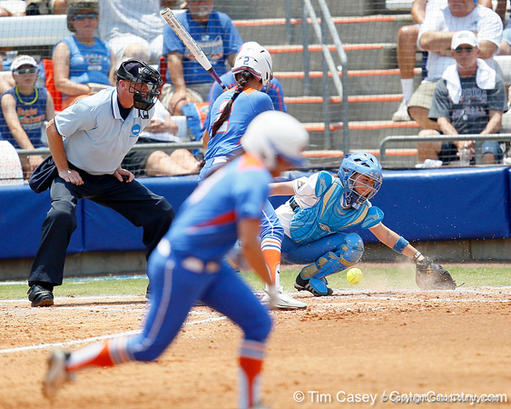 Florida senior Kelsey Bruder watches a passed ball that resulted in a stolen base during the Gators' 3-2 loss to the UCLA Bruins in the NCAA Regionals on Sunday, May 22, 2011 at Katie Seashole Pressly Softball Stadium in Gainesville, Fla. / Gator Country photo by Tim Casey