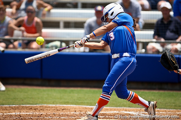 Florida senior second baseman Aja Paculba connects with the ball during the Gator's 2-3 loss to the UCLA Bruins on Sunday, May 22, 2011 at Katie Seashole Pressly Stadium in Gainesville, Fla. / photo by Rob Foldy