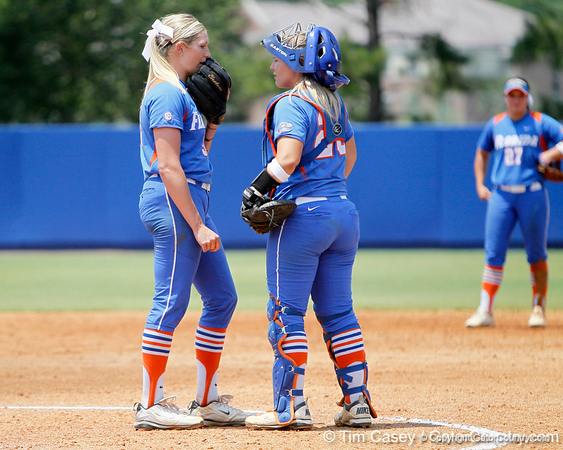Florida senior pitcher Stephanie Brombacher talks with senior catcher Tiffany DeFelice during the Gators' 3-2 loss to the UCLA Bruins in the NCAA Regionals on Sunday, May 22, 2011 at Katie Seashole Pressly Softball Stadium in Gainesville, Fla. / Gator Country photo by Tim Casey