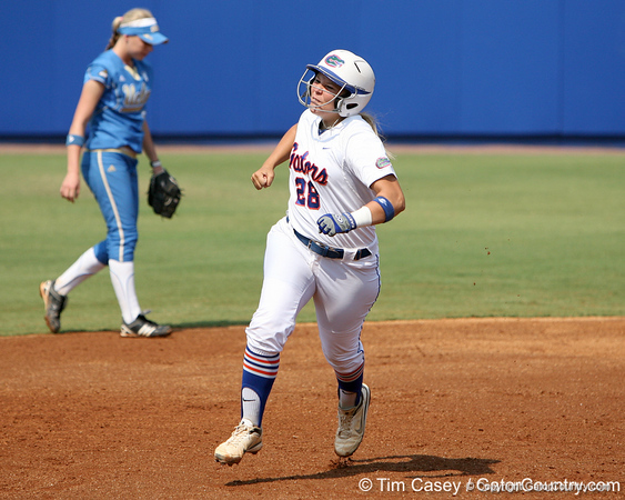 Florida senior catcher Tiffany DeFelice celebrates while running out a homer during the Gators' 11-3 win against the UCLA Bruins in the NCAA Regional final on Sunday, May 22, 2011 at Katie Seashole Pressly Softball Stadium in Gainesville, Fla. / Gator Country photo by Tim Casey