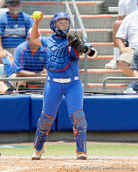 Florida senior catcher Tiffany DeFelice throws the ball back to the circle during the Gators' 3-2 loss to the UCLA Bruins in the NCAA Regionals on Sunday, May 22, 2011 at Katie Seashole Pressly Softball Stadium in Gainesville, Fla. / Gator Country photo by Tim Casey