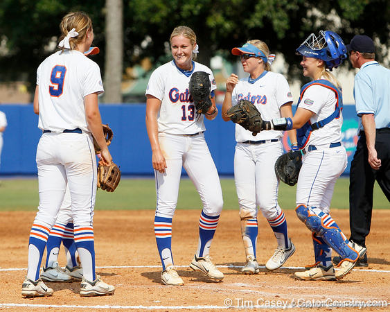 Florida freshman pitcher Hannah Rogers huddles with teammates during the Gators' 11-3 win against the UCLA Bruins in the NCAA Regional final on Sunday, May 22, 2011 at Katie Seashole Pressly Softball Stadium in Gainesville, Fla. / Gator Country photo by Tim Casey