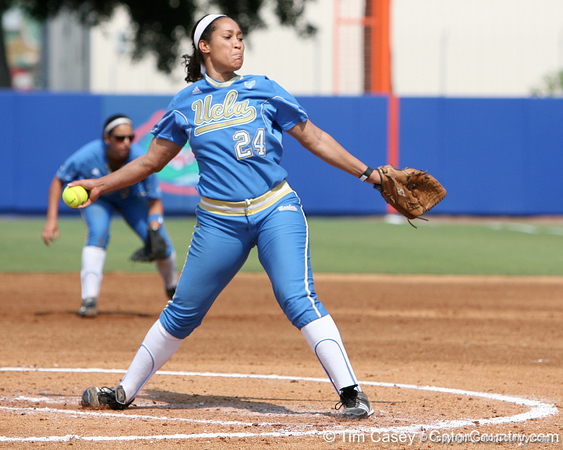 UCLA's Aleah Macon winds up during the Gators' 11-3 win against the UCLA Bruins in the NCAA Regional final on Sunday, May 22, 2011 at Katie Seashole Pressly Softball Stadium in Gainesville, Fla. / Gator Country photo by Tim Casey
