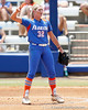Florida senior pitcher Stephanie Brombacher signals to the outfield during the Gators' 3-2 loss to the UCLA Bruins in the NCAA Regionals on Sunday, May 22, 2011 at Katie Seashole Pressly Softball Stadium in Gainesville, Fla. / Gator Country photo by Tim Casey