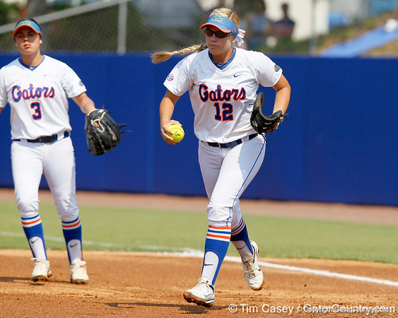 Florida senior first baseman Megan Bush runs the ball back to the circle during the Gators' 11-3 win against the UCLA Bruins in the NCAA Regional final on Sunday, May 22, 2011 at Katie Seashole Pressly Softball Stadium in Gainesville, Fla. / Gator Country photo by Tim Casey